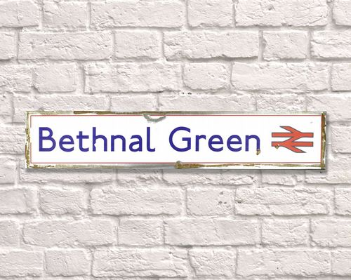 Bethnal Green Rusty Metal Sign 15cm x 79cm